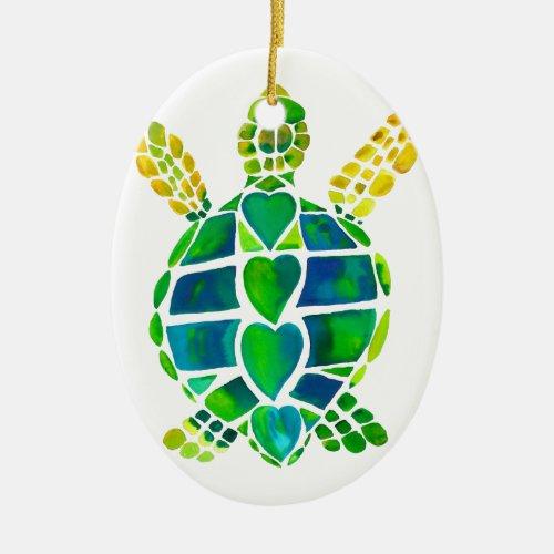Sea Turtle Love Collection Ceramic Ornament