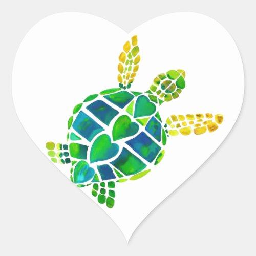 Sea Turtle Love Collection Heart Sticker