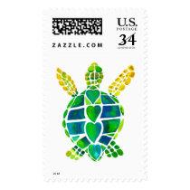 Sea Turtle Love Postage Stamp
