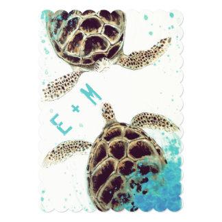 "Sea Turtle Love Wedding Invitation 5"" X 7"" Invitation Card"
