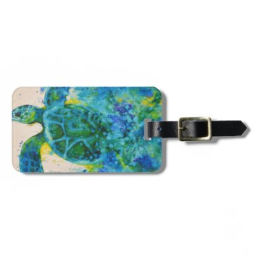 katiefioritoart sea turtle luggage tag