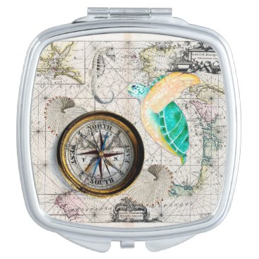 Beach Themed Sea turtle Map Beige Mirror For Makeup