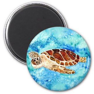 sea turtle marine sealife watercolor painting 2 inch round magnet