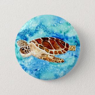sea turtle marine sealife watercolor painting button