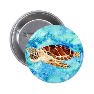 sea turtle marine sealife watercolor painting button