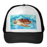 sea turtle marine sealife watercolor painting hat