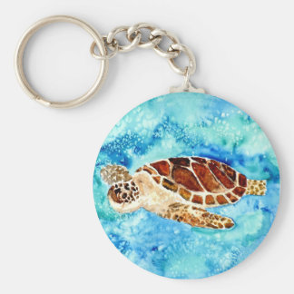 sea turtle marine sealife watercolor painting keychain