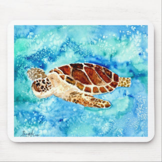 sea turtle marine sealife watercolor painting mouse pad