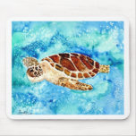 sea turtle marine sealife watercolor painting mousepad