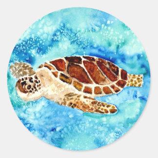 sea turtle marine sealife watercolor painting round stickers