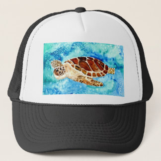 sea turtle marine sealife watercolor painting trucker hat