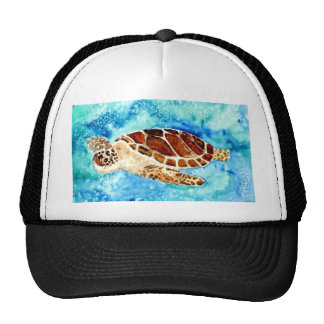 sea turtle marine sealife watercolor painting trucker hat