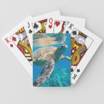 "Sea Turtle, Marine Turtle, Chelonioidea, reptile Playing Cards<br><div class=""desc"">Large Sea Turtle,  Marine Turtle,  Chelonioidea,  reptile animal swimming in clear and clean water - Photography - See also the other great products!</div>"