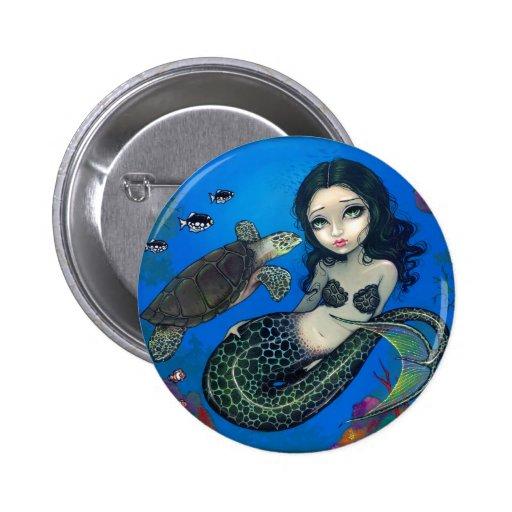 """Sea Turtle Mermaid"" Button"