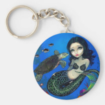 art, turtle, sea turtle, mermaid, mermaids, ocean, animal, terrapin, terrapins, sea, animals, nature, water, underwater, coral, fantasy, eye, eyes, big eye, big eyed, jasmine, becket-griffith, becket, griffith, jasmine becket-griffith, jasmin, strangeling, artist, goth, gothic, fairy, gothic fairy, faery, fairies, faerie, fairie, lowbrow, low brow, big eyes, Keychain with custom graphic design