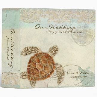 Sea Turtle Modern Coastal Ocean Beach Swirls Style 3 Ring Binder