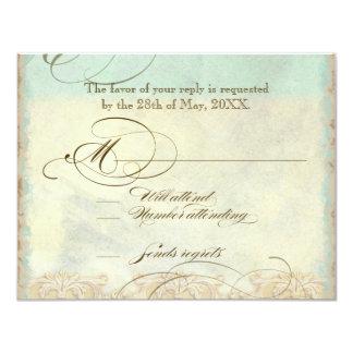 Sea Turtle Modern Coastal Ocean Beach Swirls Style 4.25x5.5 Paper Invitation Card