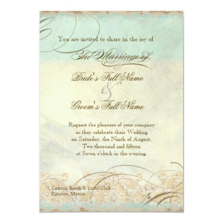 Sea Turtle Modern Coastal Ocean Beach Swirls Style 5x7 Paper Invitation Card