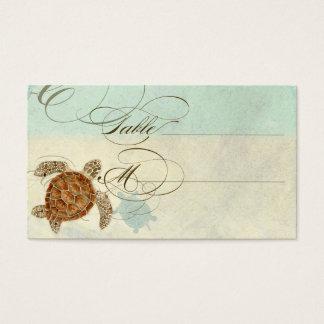 Sea Turtle Modern Coastal Ocean Beach Swirls Style Business Card