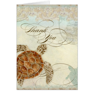 Sea Turtle Modern Coastal Ocean Beach Swirls Style Card