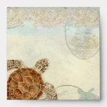 Sea Turtle Modern Coastal Ocean Beach Swirls Style Envelopes