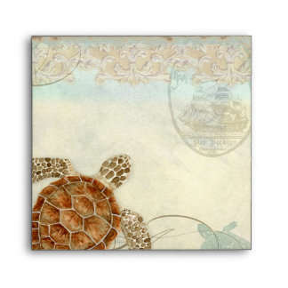 Sea Turtle Modern Coastal Ocean Beach Swirls Style Envelope