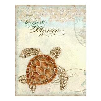 Sea Turtle Modern Coastal Ocean Beach Swirls Style Flyer