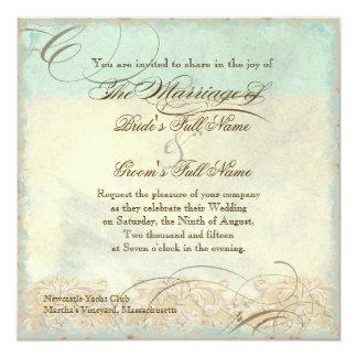 Sea Turtle Modern Coastal Ocean Beach Swirls Style 5.25x5.25 Square Paper Invitation Card