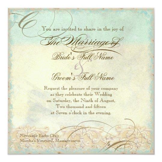 Sea Turtle Wedding Invitations: Sea Turtle Modern Coastal Ocean Beach Swirls Style
