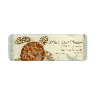Sea Turtle Modern Coastal Ocean Beach Swirls Style Label