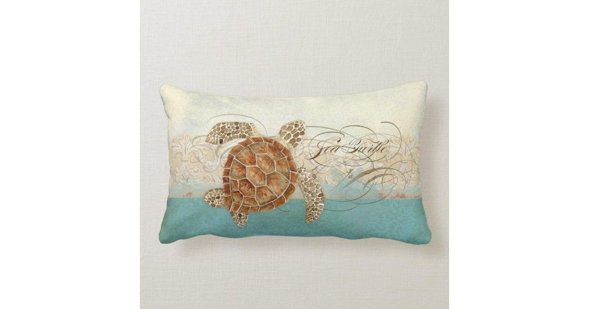 Modern Beach Pillow : Sea Turtle Modern Coastal Ocean Beach Swirls Style Pillow Zazzle