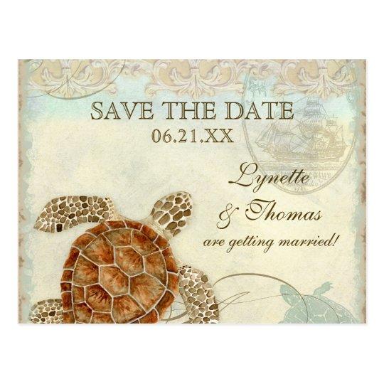 Sea Turtle Modern Coastal Ocean Beach Swirls Style Postcard