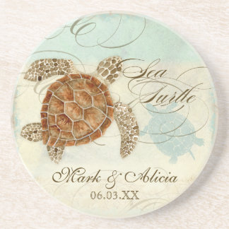 Sea Turtle Modern Coastal Ocean Beach Swirls Style Sandstone Coaster
