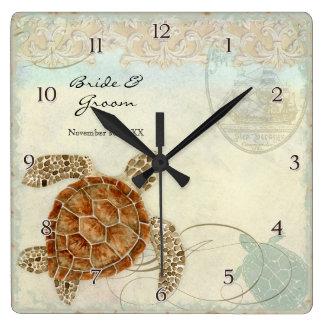 Sea Turtle Modern Coastal Ocean Beach Swirls Style Square Wall Clock