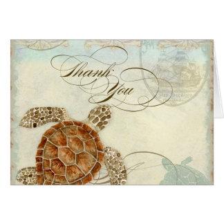 Sea Turtle Modern Coastal Ocean Beach Swirls Style Stationery Note Card