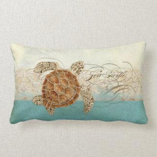 Sea Turtle Modern Coastal Ocean Beach Swirls Style Throw Pillow