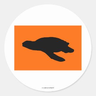 Sea Turtle Nesting Flag Classic Round Sticker