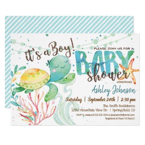 Sea Turtle Ocean Baby Shower invitation Boy Invitation