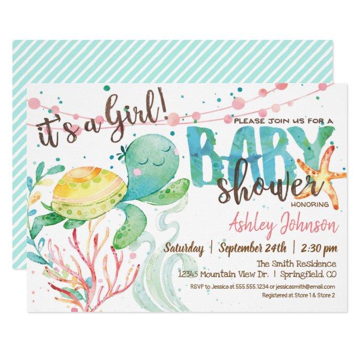 Sea Turtle Ocean Baby Shower Invitation