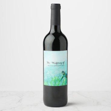 Sea Turtle Ocean Beach Art Custom Wedding Wine Wine Label