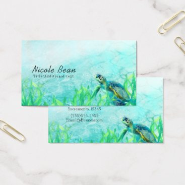 Sea Turtle Ocean Beach Art Elegant Tropical Chic Business Card