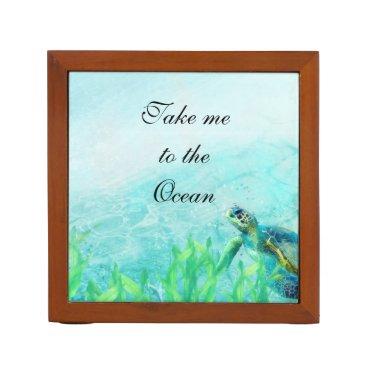 Beach Themed Sea Turtle Ocean Beach Art Elegant Tropical Desk Organizer