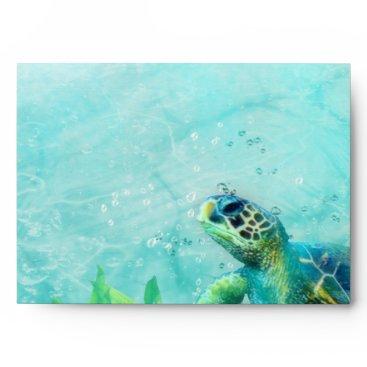 Sea Turtle Ocean Beach Art Wedding Invitation Card Envelope