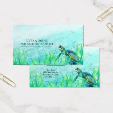 Sea Turtle Ocean Beach Elegant Refer a Friend Business Card