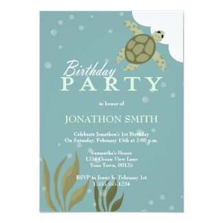 Sea Turtle Ocean Theme Birthday Party Invitation