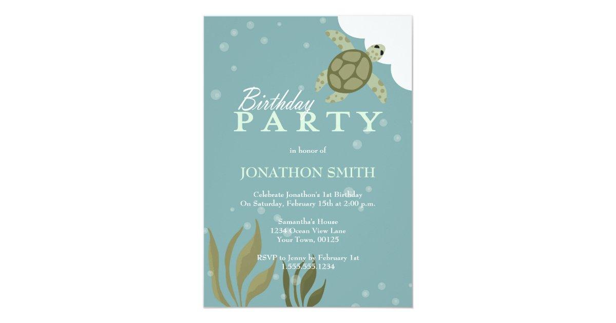 Sea Turtle Ocean Theme Birthday Party Invitation Zazzle Com