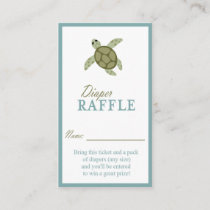 Sea Turtle Ocean Theme Diaper Raffle Ticket Enclosure Card