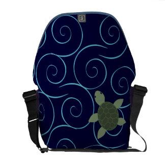 Sea Turtle on a Swirling Sea Messenger Bags