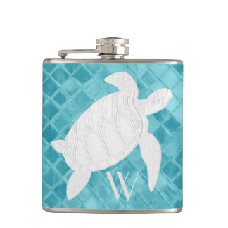 Sea Turtle on Aqua Sea Glass Monogram Hip Flask