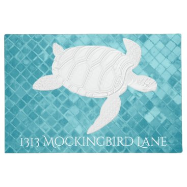 WRAPPED_TOO_TIGHT Sea Turtle on Aqua Sea Glass Personalize Doormat